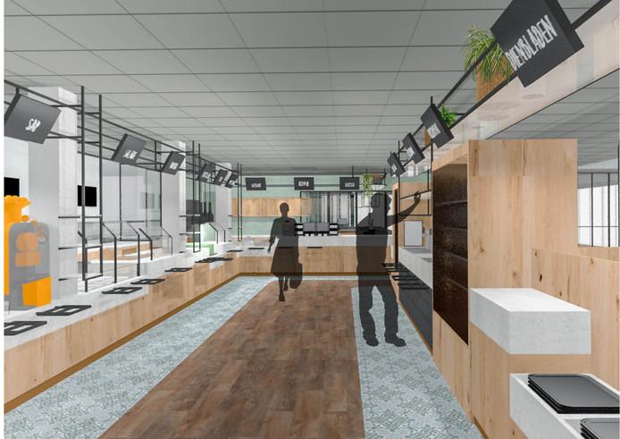 Een impressie van hoe het zelfbedieningsrestaurant binnen Restaurant Grevelingen eruit gaat zien na de verbouwing.