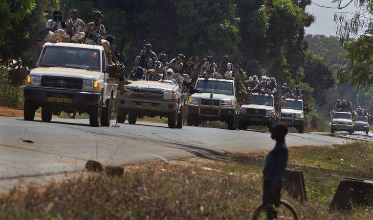 Soldaten in de hoofdstad van de Centraal-Afrikaanse Republiek.