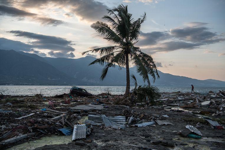 Een ravage langs de kustlijn. Beeld Getty Images