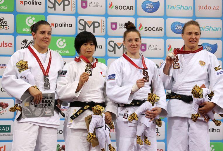 Shori Hamada (de tweede van links) greep vorig jaar het goud op het WK judo.