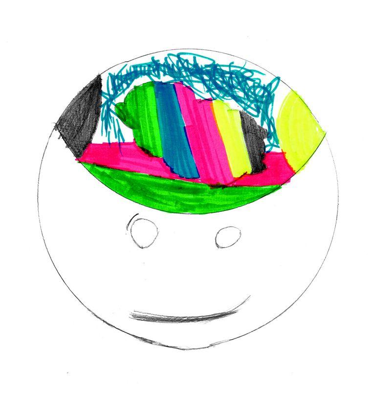 Tekening van de tienjarige Annelinde, getekend met de vraag: kun je ons uitleggen hoe adhd eruit ziet? Beeld