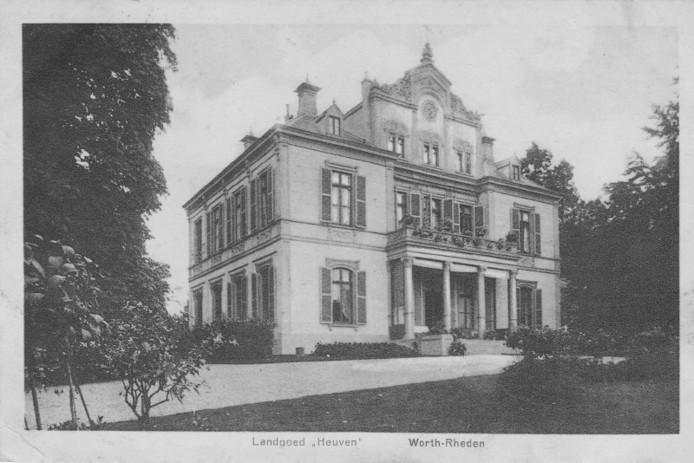 Het landhuis op het landgoed Heuven, dat gesloopt is in 1939.
