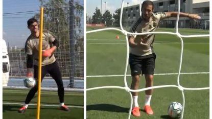 Dollende Hazard vormt geoliede tandem met Benzema op training bij Real, terwijl Courtois er de pees op legt