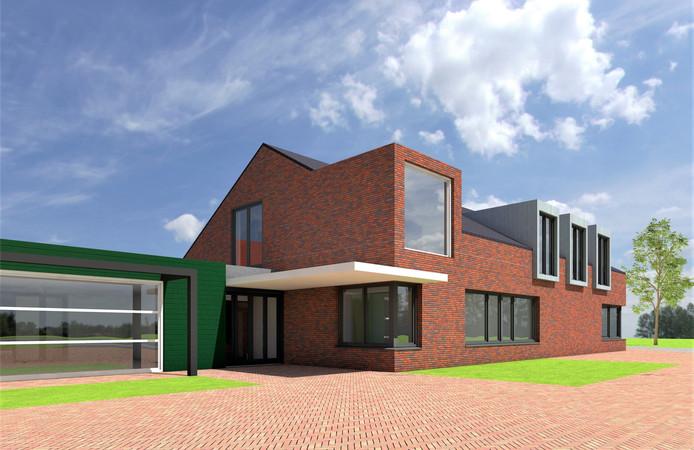 Een voorlopige impressie door Quadrant Architecten van het gezondheidscentrum waarmee d'Alburcht in Wijk en Aalburg wordt uitgebreid.