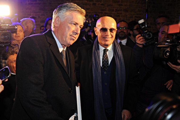 Arrigo Sacchi (rechts) samen met Real-coach Carlo Ancelotti.