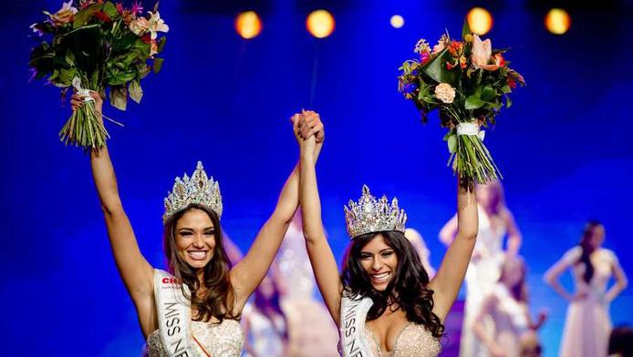 Tatjana Maul (L) is gekozen tot Miss Nederland World en Yasmin Verheijen (R) gekroond tot Miss Nederland Universe.