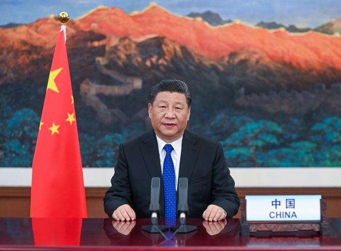 Xi Jinping tijdens zijn toespraak tot de WHO.