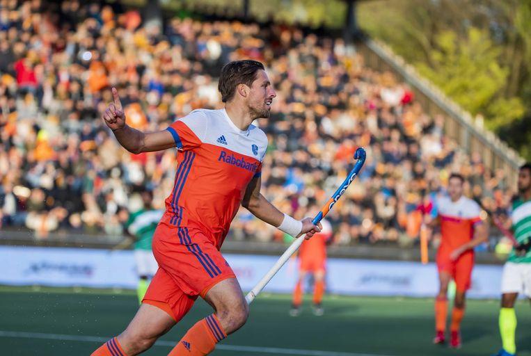 Bjorn Kellerman viert de 1-0 tijdens de Olympische kwalificatiewedstrijd tegen Pakistan. Oranje plaatste zich voor de Olympische Spelen in Tokio. Beeld ANP