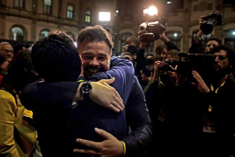 Vreugde was er ook bij de Catalaanse linkse republikeinen van ERC. De partij stijgt van 9 naar 15 zetels in het Spaanse parlement en kan zo een cruciale rol gaan spelen.