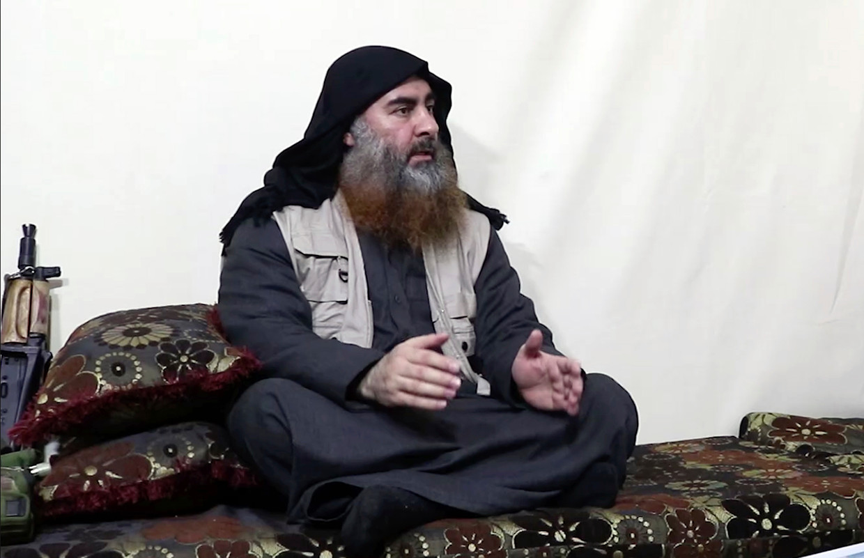 Abu Bakr al-Baghdadi op een video van april 2019.