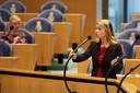 Lisa Westerveld van GroenLinks tijdens een debat in de Tweede Kamer.