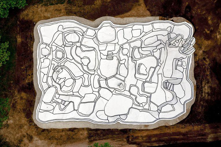 Jardin d'émail van Jean Dubuffet, van bovenaf gezien. Beeld Matthijs Immink