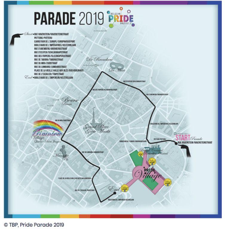 Parcours van de Pride Parade 2019