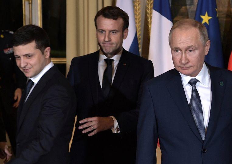 Zelensky met Macron en Poetin in Parijs begin deze maand.