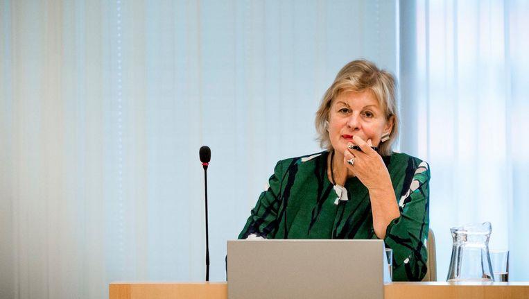 Zittend burgemeester Geke Faber vertrekt per 1 december. Beeld anp