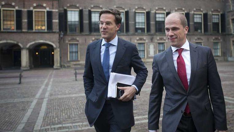 Mark Rutte en Diederik Samsom op het Binnenhof Beeld anp