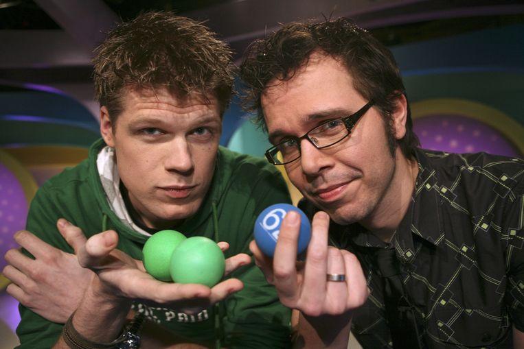 DJ's Coen Swijnenberg en Michiel Veenstra in een speciale aflevering van Lingo in 2008. Beeld anp