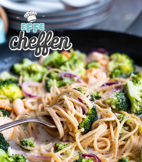 Citroenspaghetti met broccoli en knoflookgarnalen