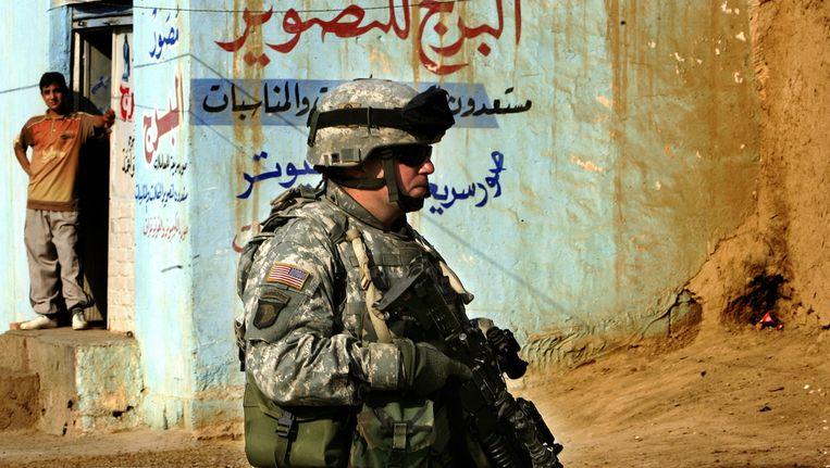 Een Amerikaanse soldaat in Fallujah. Beeld anp