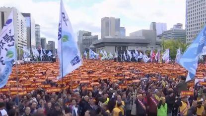 Tienduizenden taxichauffeurs protesteren in Seoul