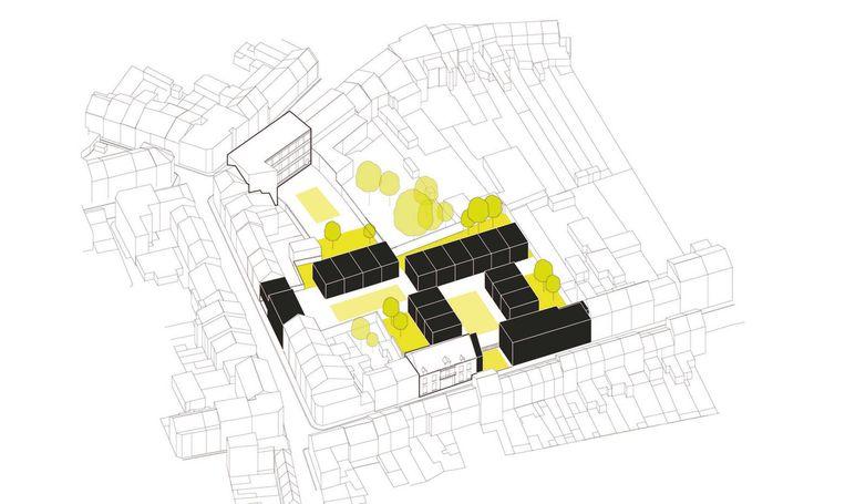 Het te behouden poortgebouw is vooraan links te zien, de zwarte blokken worden ingevuld met wooneenheden en er is ook ruimte voorzien voor groene zones.