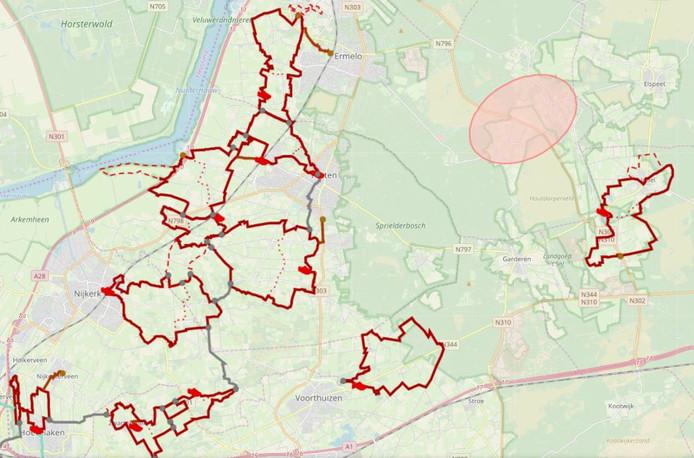 De klompenpaden in Putten en Ermelo. Op deze kaart ook de paden in Uddel, Nijkerk, Hoevelaken en Voorthuizen in beeld.
