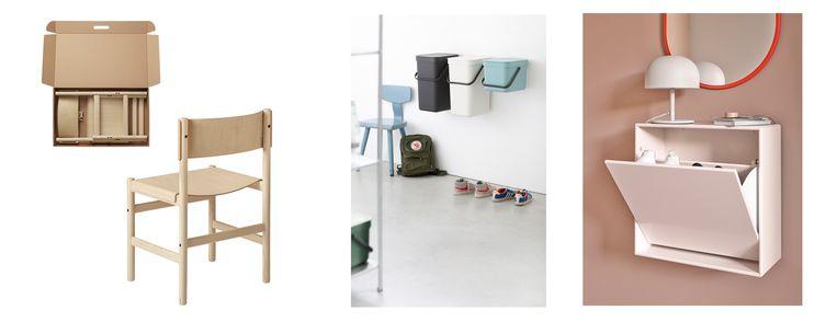 Van links af: Houten meubels, vuilnisemmer, schoenenwand Beeld