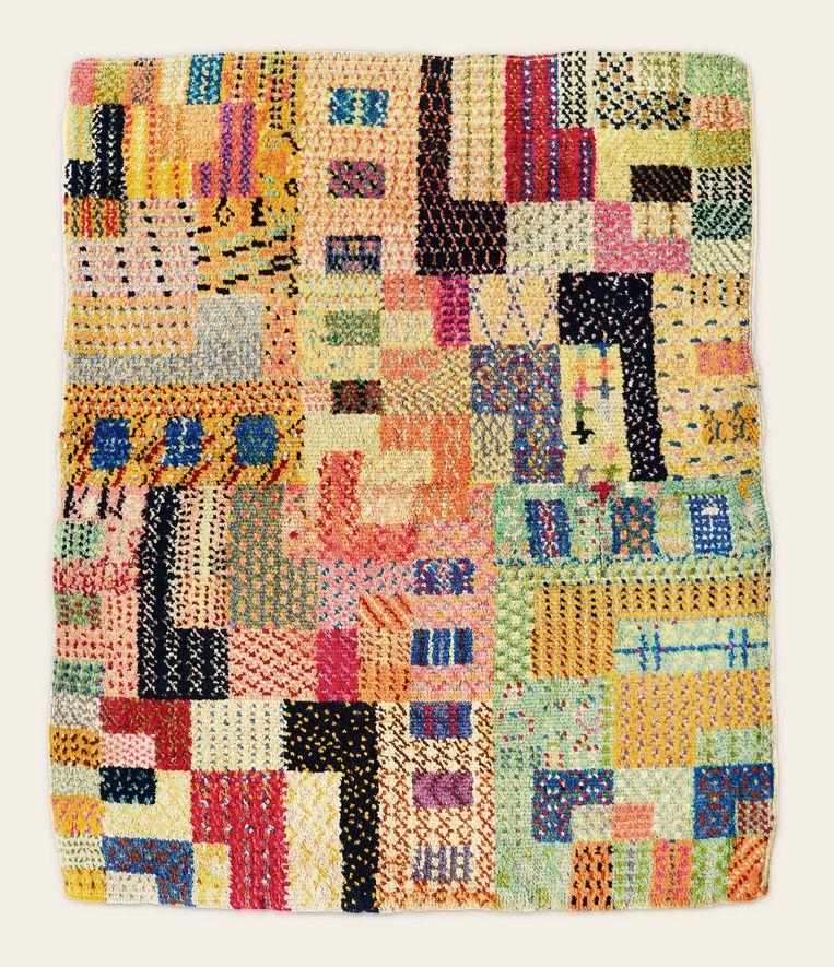 Gunta Stölzl, tapijt van geknoopte wol uitgevoerd in de weefwerkplaats van het Bauhaus in Weimar, 1922.  Beeld Museum Bojimans van Beuningen