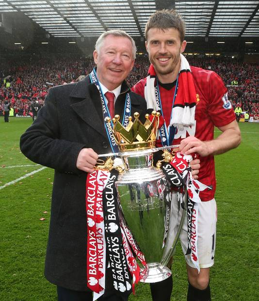 Sir Alex Ferguson en Michael Carrick in 2013.