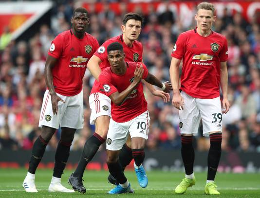 Paul Pogba, Harry Maguire, Marcus Rashford en Scott McTominay.