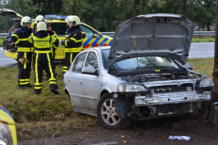 De bestuurster raakte  van de Rijksweg-Zuid en kwam tot stilstand tegen een boom.