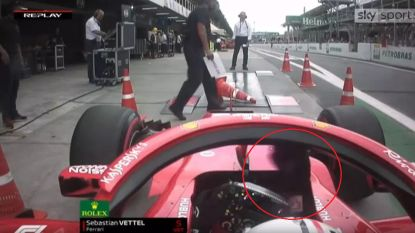 Bizarre scène met Vettel in de hoofdrol: ongeduldige Duitser bereikt bijna kookpunt tijdens weging en dreigt zelfs even steward aan te rijden
