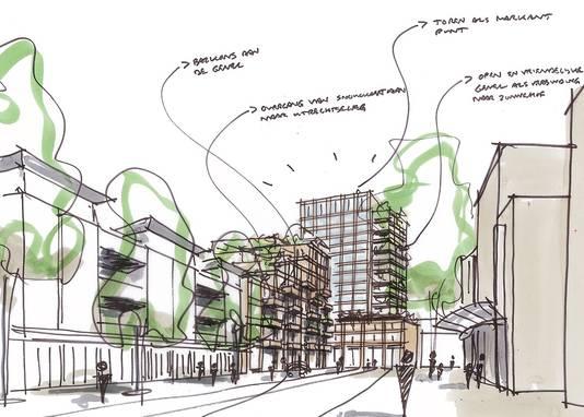 Ruwe schets van de nieuwbouw op het terrein van het SNS-gebouw aan de Utrechtseweg in Amersfoort, gezien vanaf de Snouckaertlaan