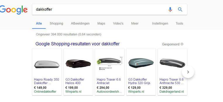 De shoppingresultaten van Google Beeld null