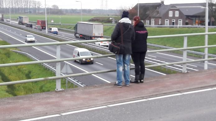 Monique (rechts) en haar moeder fotograferen zo'n drie keer in de week vrachtwagens die onder het viaduct bij Moergestel doorschieten.