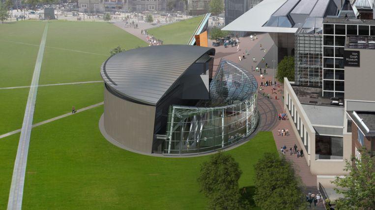 Artist's impression van de nieuwe entree van het Van Giogh Museum. Beeld Van Gogh Museum.