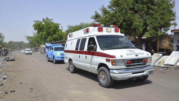 Een ambulance in Maiduguri na een aanslag vorige week