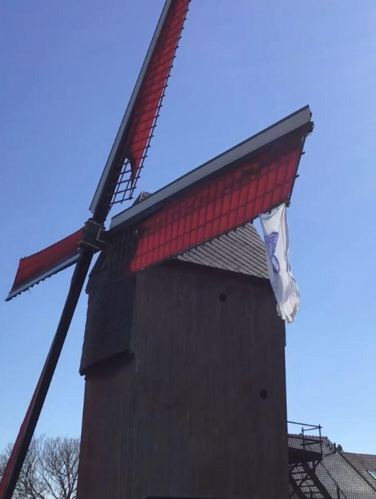 Onder meer aan de windmolen in Appelterre hangt er een 'zorgvlag'.