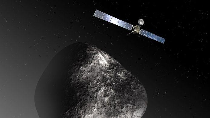 Een animatie van de ruimtesonde Rosetta.