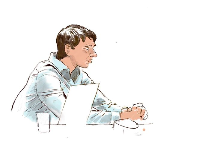 Rechtbanktekening van Thijs H. tijdens de inhoudelijke behandeling.