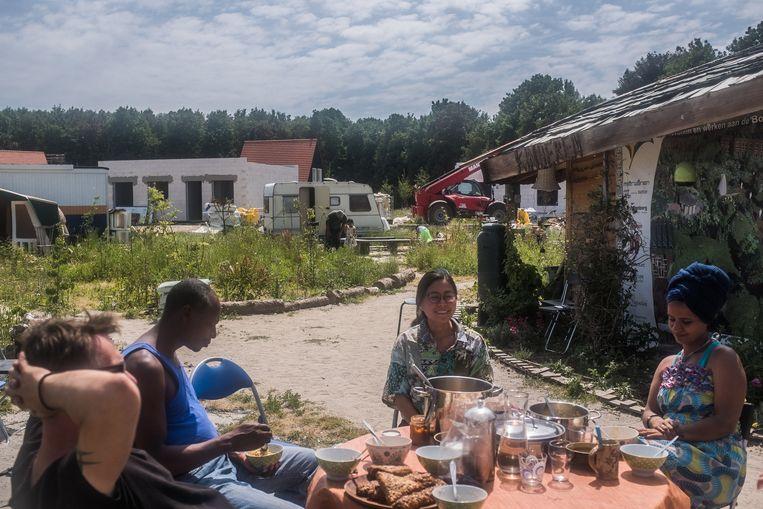 De grond van coöperatie Diamondiaal, met onder meer tenten voor de uitgeprocedeerde gezinnen. Beeld Joris van Gennip