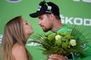 Peter Sagan, winnaar van de tweede etappe, in het vertrouwde groen.