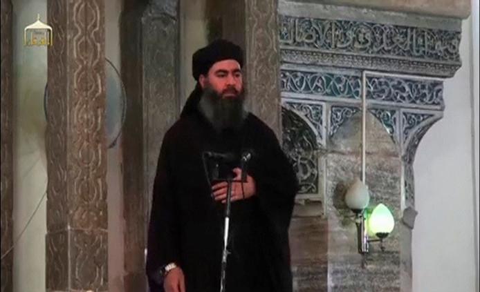 Abu Bakr al-Baghdadi in 2014, tijdens zijn eerste en enige publieke optreden in Mosul.