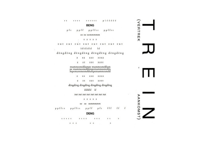 Klankgedicht 'Trein (vertrek - aankomst)' van Antony Kok