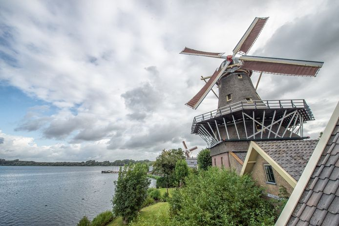 Bij de Rotterdamse molens De Ster (rechts) en De Lelie aan de Kralingse Plas komt een bezoekerscentrum. Maart volgend jaar moet het af zijn.