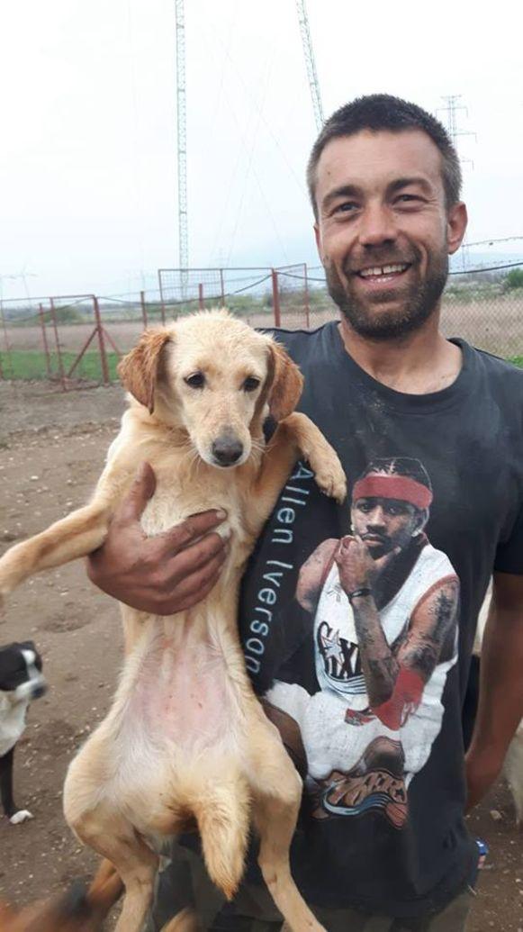 Een van de vrijwilligers met een puppy.