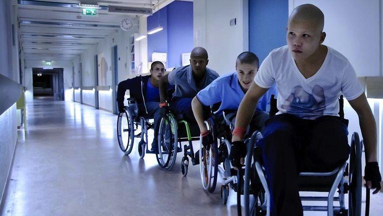 De vier hoofdrolspelers in de film kankerlijers van Lodewijk Crijns Beeld
