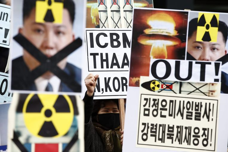 Protest tegen Kims raketproeven Beeld EPA