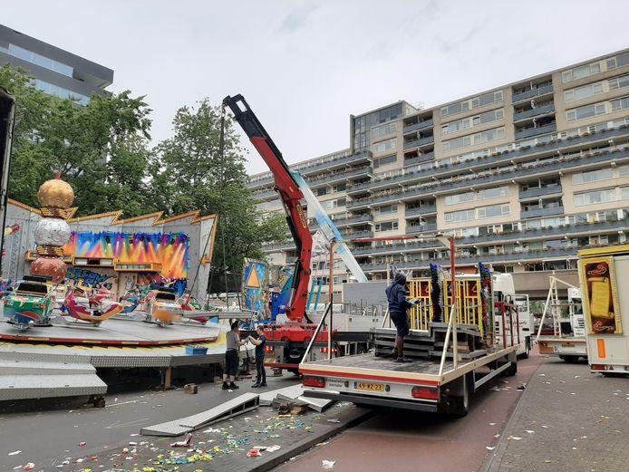 De attracties worden ingepakt, de kermis vertrekt weer uit Tilburg.