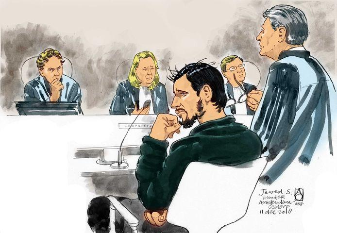 Rechtbanktekening (uit 2018) van verdachte Jawed S. (M), met zijn toenmalige advocaat Simon van der Woude (R).